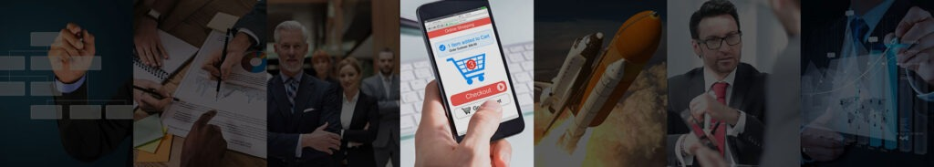 Hand holding cell phone with shopping cart